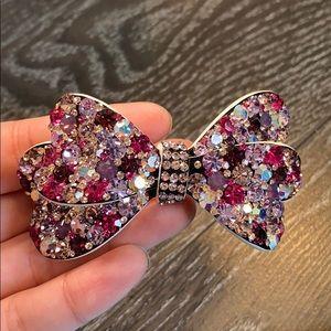 Handmade Swarovski bow tie hair clip
